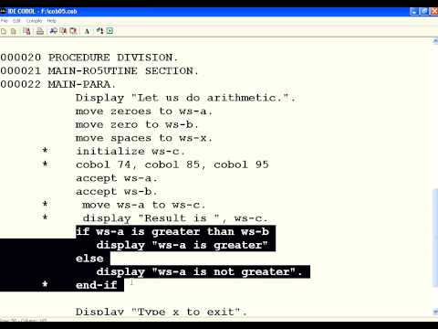 COBOL 5 Move and IF