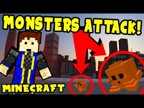 """Minecraft   MONSTERS ATTACK CITY   """"City Abandoned!"""""""