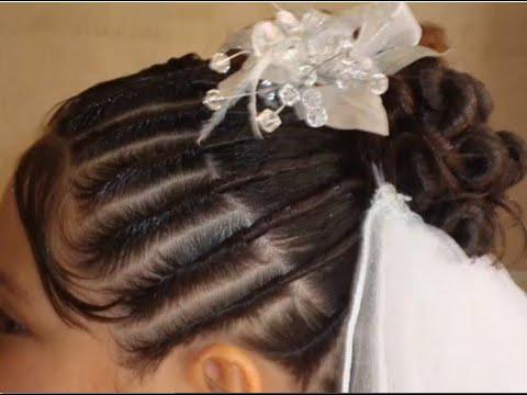 Peinados para ninas primera comunion con velo