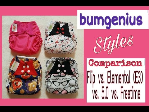 The 4 different styles of Bumgenius Cloth Diapers | Freetime vs. Elemental vs. 5.0 vs. Flip