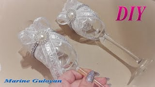 Свадебные бокалы своими руками ✔ Marine DIY Guloyan✔