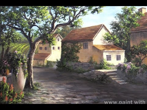 Italian Village Painting | Countryside Landscape