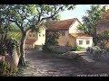 Italian Village Painting   Countryside Landscape