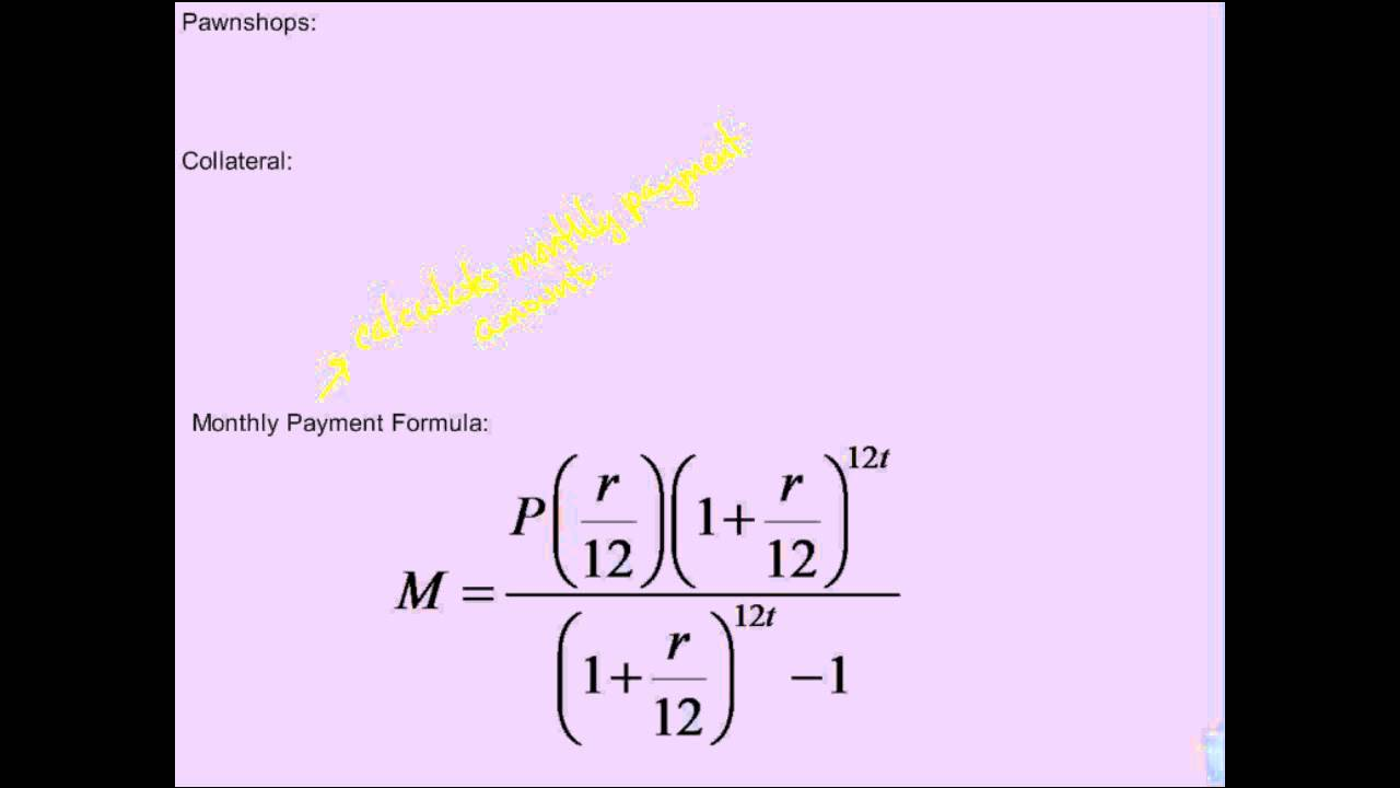 Financial Algebra Loans Monthly Payment Formula and Loan Length ...