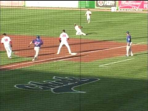 VIDEO: South Bend gets a run on weird play at first base involving CHIEFS 1st baseman Trosclair, 2nd