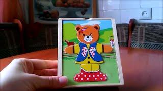 Обзор деревянная рамка-вкладыш Медвежонок Катя wood frame pad Bear Kate