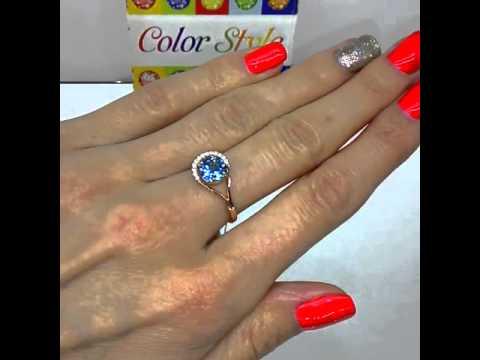 Кольцо с бриллиантами и топазом из белого золота
