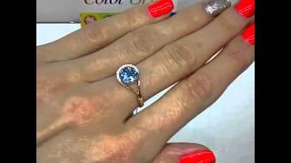 Золотое кольцо с топазом «Sky blue»