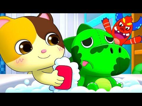 趕走恐龍身上的細菌 | 最新好習慣兒歌童謠 | 清潔歌 | 細菌卡通動畫 | 寶寶巴士 | 奇奇 | BabyBus