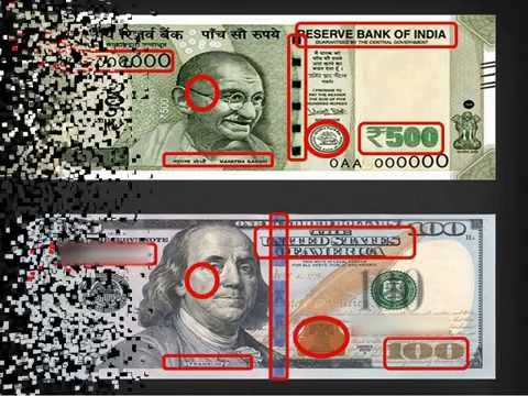 Indian 500 Rupee vs American 100 Dollar Note