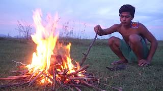Primitive Technology : Awesome  Burn Fish in Watermelon, Steamed Fish in Watermelon