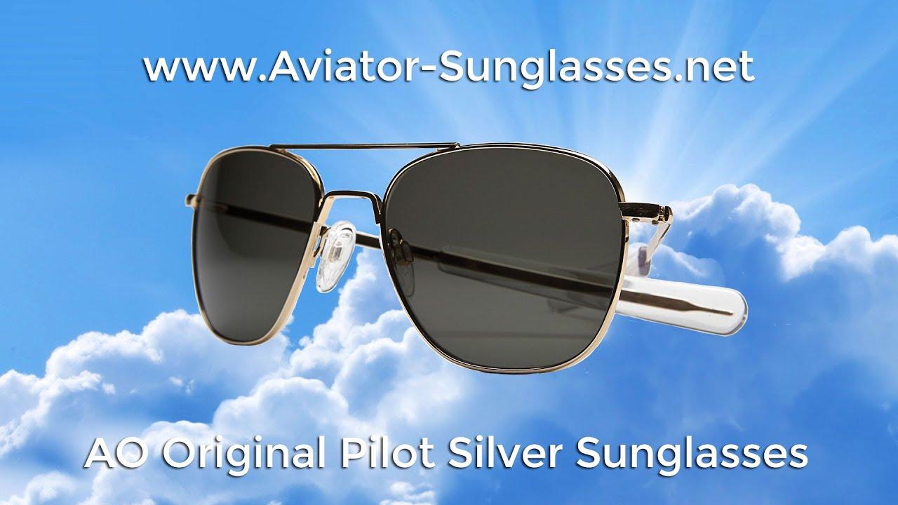 295afaf994 AO Original Pilot Silver Frame Aviator Sunglasses - YouTube