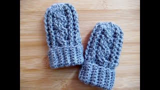 Easy crochet Baby mittens gloves tutorial Mitts 0-6 months Happy Crochet Club