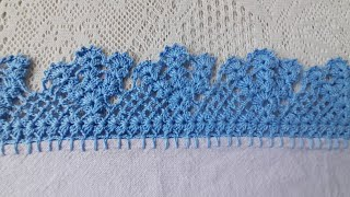 Como Fazer Bico de Crochê Carreira Única – Barrado em crochê