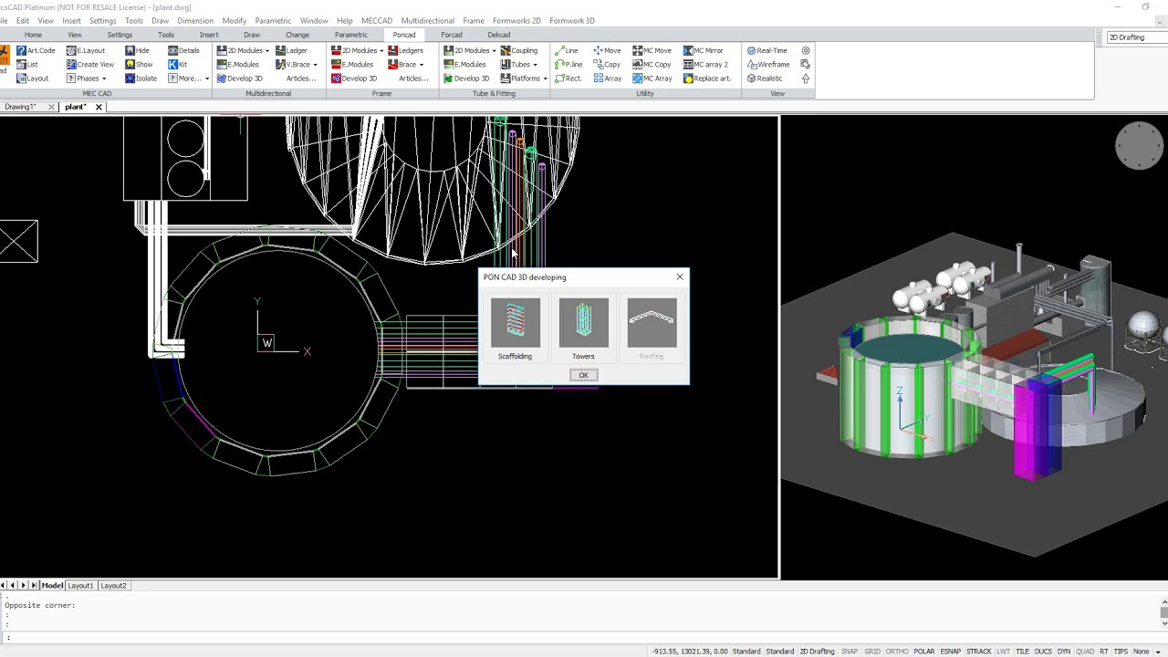 Project and Drawing of Scaffolding for maintenance with software PON ...