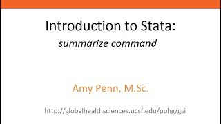 introduction to stata summarize command