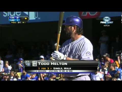 Todd Helton Last At Bat Dodgers vs. Rockies 9-29-13