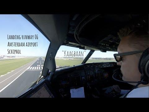 Approach & landing runway 06 Amsterdam Airport Schiphol (AMS EHAM)