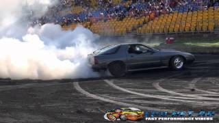 MILF V8 RX7 AT BURNOUT MANIA SYDNEY DRAGWAY 6.10.2014