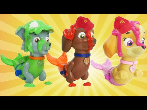 PAW Patrol Pups Save a Mer Pup Rocky, Sky, Zuma Paddlin, Learn Colors for McDonalds Merpup Water Toy