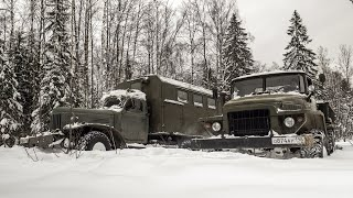 Урал 375Д и ЗИЛ 157 против снежной целины.