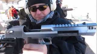 New Desert Eagle 50 cal Pistol with muzzle break shooting at Shot Show 2013