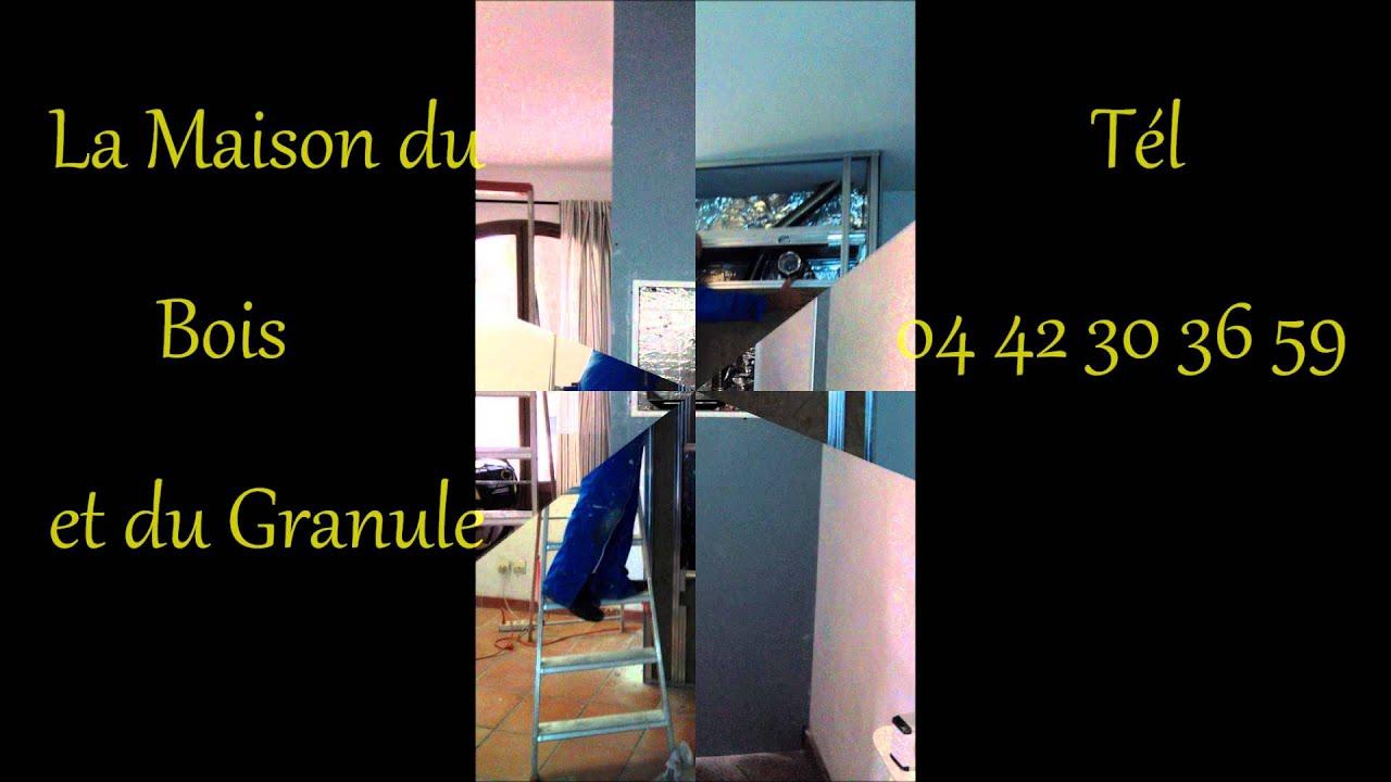 installation d 39 une chemin e avec insert granule youtube. Black Bedroom Furniture Sets. Home Design Ideas