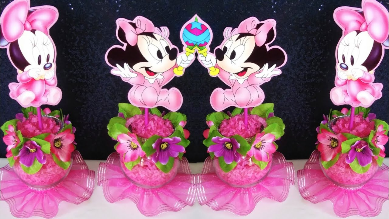 Decoracion de minnie mouse para baby shower youtube for Adornos para pieza de bebe
