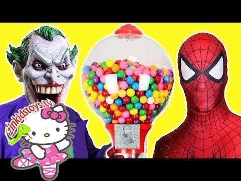 Spiderman & Frozen Elsa Gumball Joker Robbery! Pink Spidergirl Disney Superhero Fun in Real Life!