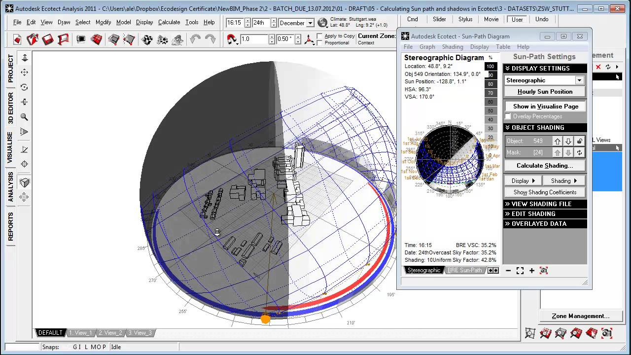 hight resolution of calculating sun path and shadows in autodesk ecotect