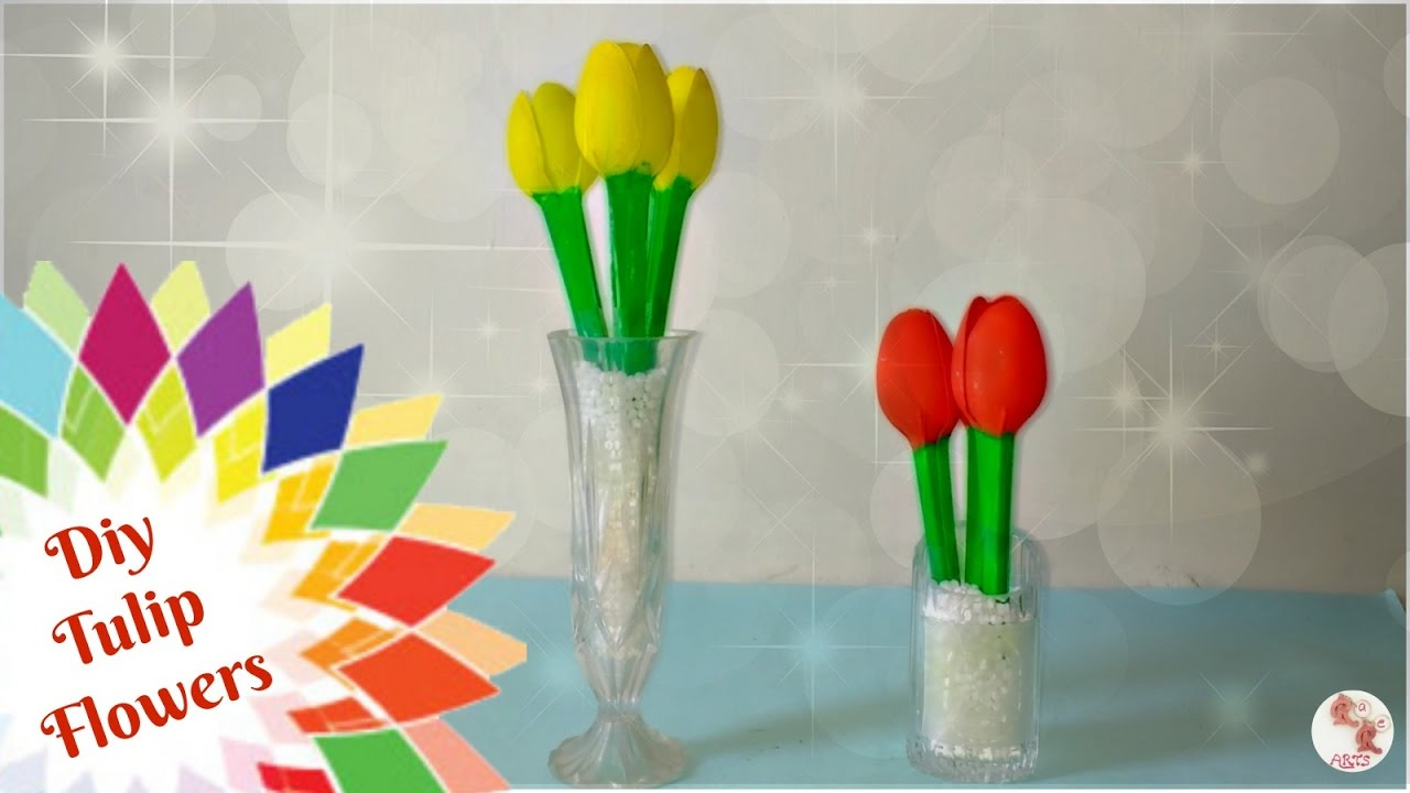 Easy tulip flowers for vase diy plastic spoon crafts for Plexiglass arts and crafts