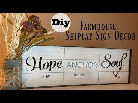 Dollar Tree DIY Farmhouse Shiplap (DUPE) Wood Sign Decor   Full Tutorial