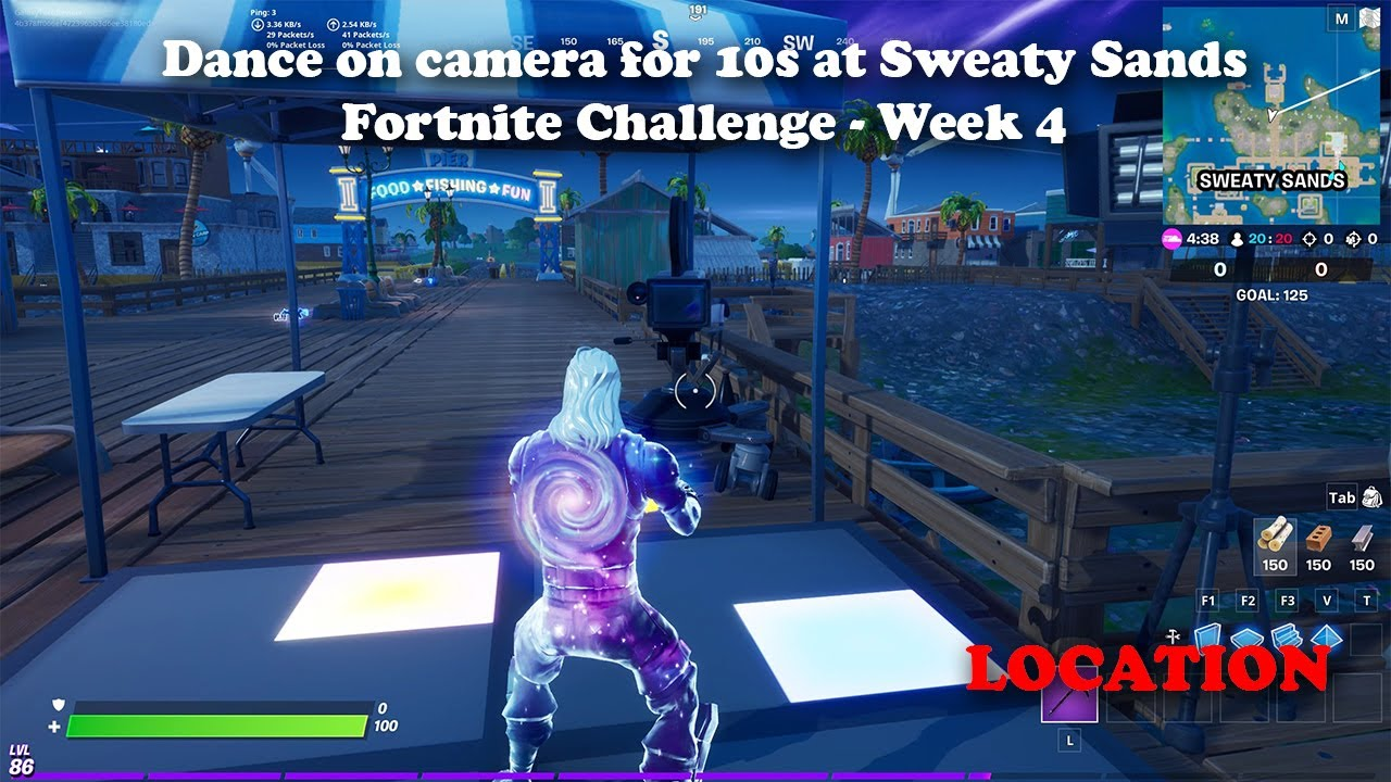 Dance on camera for 10s at Sweaty Sands - Fortnite Week 4 Challenge LOCATION