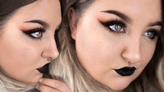 SMOKEY WING, BLACK LIPS + FRECKLES | Makeup Tutorial + Chat