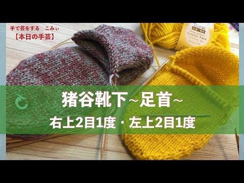 猪谷靴下~足首~右上2目1度・左上2目1度【本日の手芸】today's handicraft