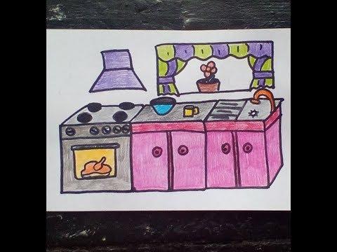Kak Narisovat Kuhnyu Como Dibujar Una Cocina Wie Zeichnet Man