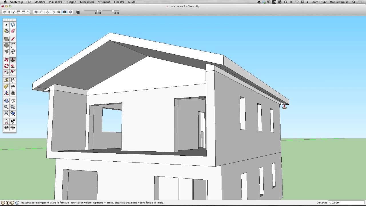 Tutorial sketchup video 05 casa tetto a falde youtube for Come fare piano casa