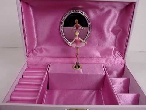 Gorgeous Pink and White Floral Ballerina Musical Jewelry Box with