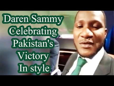 Daren Sammy celebrating Pakistan's victory in style