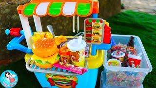 ของเล่นทำอาหารชุดใหม่ เปิดร้านขายแฮมเบอร์เกอร์รถเข็น รีวิวของเล่นHamburger
