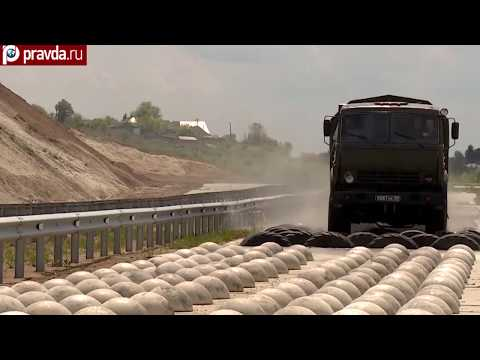 Russian military vehicles in action