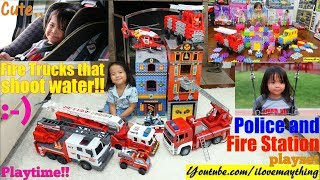 Fire Truck that Shoots Water, Police Station Set, Helicopter Toy and Princess Castle Playset