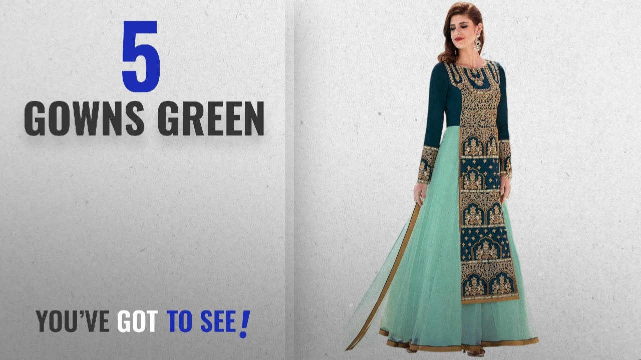 746e722d97 Top 10 Gowns Green  2018   Siddeshwary Fab women s Taffeta Silk And Net embroidered  Gown For women