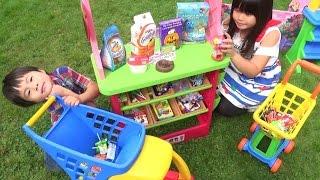 お菓子屋さんごっこ お買い物 カート が山盛り!!! こうくんねみちゃん Play shopping Candy shop