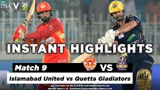 Islamabad United vs Quetta Gladiators | Full Match Instant Highlights | Match 9 | 27 Feb | HBL PSL 5