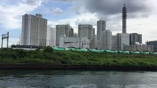 JR貨物 EF65+タキ1000+コンテナ貨物列車 横浜みなとみらいをバックに高島線をゆく~2017.9.11~/Japan Railway/Japan Train