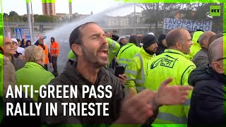 Water cannon deployed at anti-Green Pass rally in Italy's Trieste