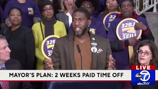 Mayor Bill de Blasio announces plan for paid time off for NYC workers