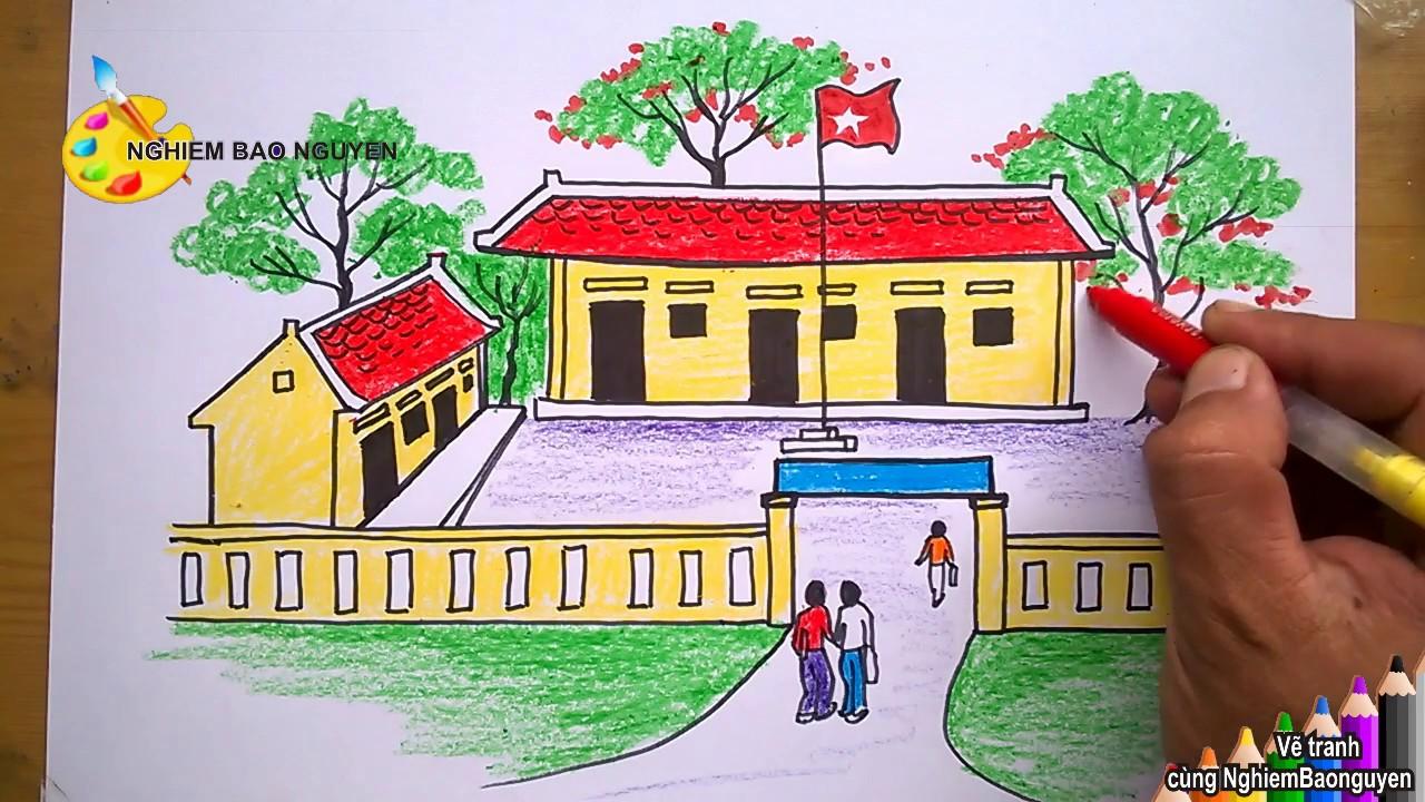 Vẽ tranh Ngôi trường của em/How to Draw My school | Khái quát các kiến thức liên quan tranh ve phong canh cua hoc sinh mới cập nhật