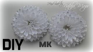 Георгины Канзаши Большие пышные банты на 1 сентября  На праздник МК Kanzashi flower tutorial thumbnail